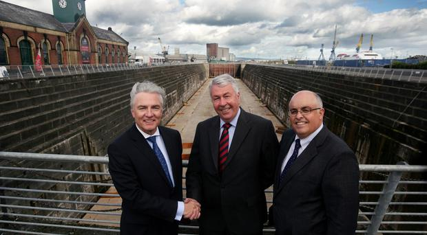 Members of the Belfast Harbour Commission (BHC) visiting Thompson Graving Dock -- formerly the world's largest dry dock and was specially made by BHC -- after their most recent board meeting. (L-r) BHC chairman Len O'Hagan, Northern Ireland Science Park chairman Frank Hewitt, and BHC chief executive Roy Adair