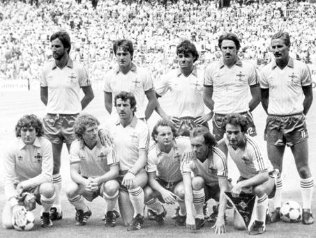 Football: World Cup 1982. Northern Ireland Team line-up. The Team Pat jennings, Chris Nicholl, John McClelland, Mal Donaghy, Dave McCreery, Billy Hamilton, Norman Whiteside, Gerry Armstrong, Sammy McIlroy and Martin O'Neill.