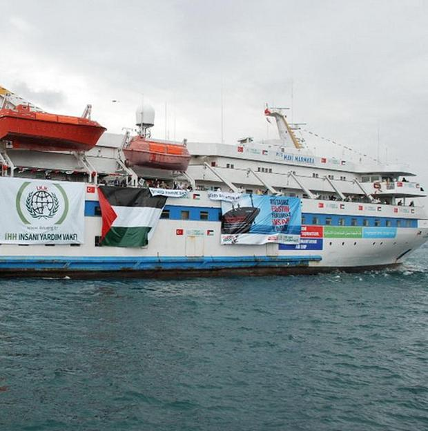Photo issued by the Palestine Solidarity Campaign of the Mavi Marmara, which is believed to be part of the flotilla heading for Gaza