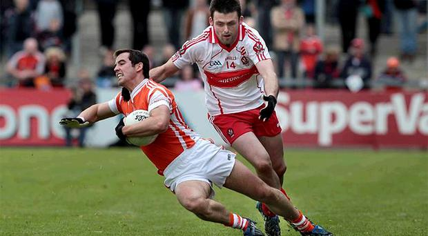 There have been no straight red cards in the Ulster Championship to date despite criticism of referees, although Derry's Eoin Bradley received a second yellow card for this challenge and was sent off