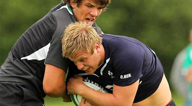 Donncha O'Callaghan and Chris Henry in training for Ireland ahead of their tour
