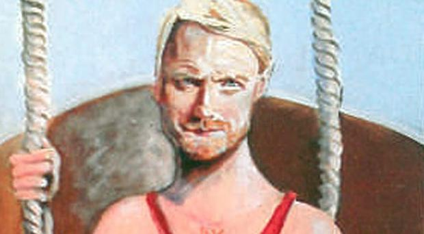 Portrait of Ronan Keating dressed in a red cocktail dress by Greystones artist Tom Byrne