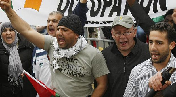 Protesters gather outside the Israeli Embassy in Dublin in response to a raid on aid ships