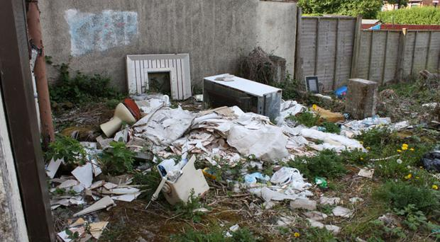 Rubbish dumped at the house in Harmin