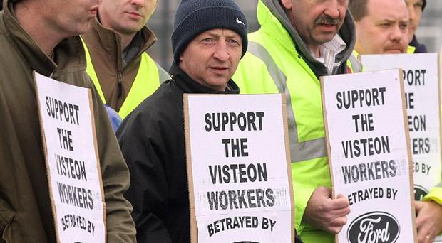 Visteon workers in Belfast picketed a Ford garage last year after job losses at their company