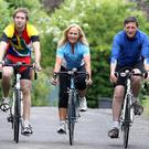 .Cyclist Alison Edgar from Jordanstown, Co Antrim with her husband Leonard and son Ben.