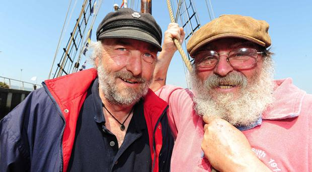 Skipper Topsey Toner and Jeff Waters pictured on the Ruth built in Sweden in 1929