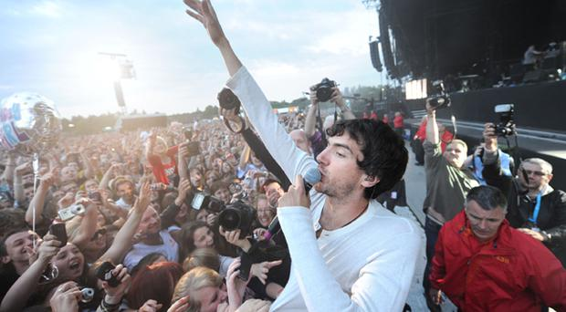 Snow Patrol lead singer Gary Lightbody performs to more than 40,000 people in Bangor's Ward Park