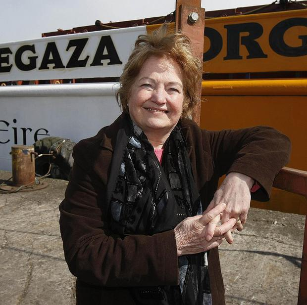 Mairead Maguire with aid ship the MV Rachel Corrie