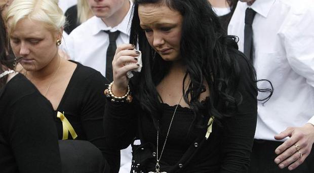Mourners at the funeral of Daniel McAnespie in Finglas, west Dublin
