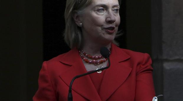 US Secretary of State Hillary Rodham Clinton speaks at a conference in Ecuador. (AP)