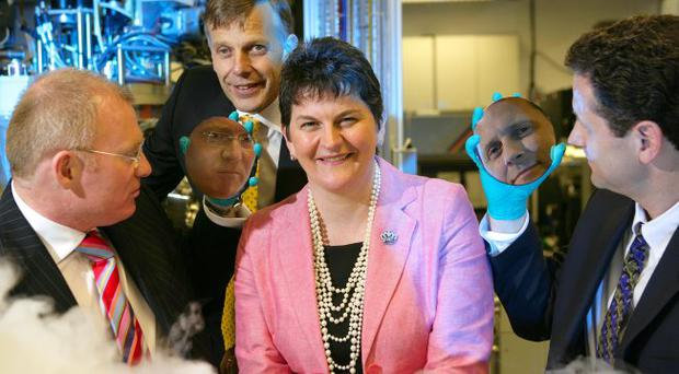 At the opening of ANSIN at Queen's University Belfast were Professor Robert Boman from Queen's, Queen's Vice-Chancellor Professor Peter Gregson, Enterprise Minister Arlene Foster and Dr Ken Allen from Seagate Technology