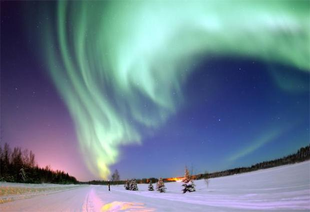 Aurora Borealis: Undoubtedly one of the most beautiful natural phenomena, Auroras, also known as northern and southern lights, are natural light displays in the sky, usually observed at night, particularly in the Polar regions. The phenomenon occurs when the sun gives off high-energy charged particles that travel out into space.