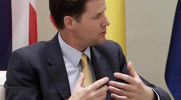 Deputy Prime Minister Nick Clegg is seen in a meeting with Spain's Prime Minister Jose Luis Rodriguez Zapatero. (AP)