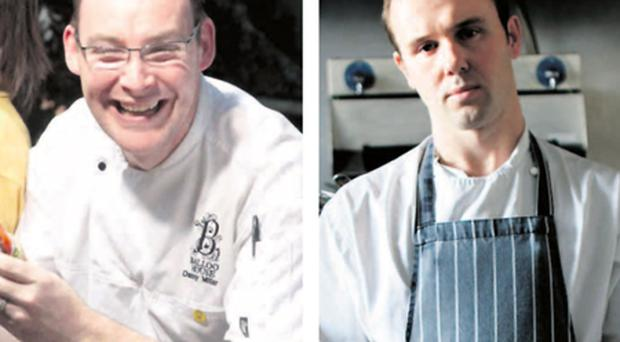 Heated kitchen: The victory of Balloo House's Danny Millar (left) in the Irish Restaurant Awards was too much for Oliver Dunne to swallow