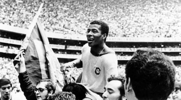 <b>1. Carlos Alberto</b><br /> The 1970 World Cup is widely regarded as the greatest Finals of them all. And it's no coincidence that the Mexico tournament featured the finest Brazil team ever brought together. Jairzinho (pictured), Tostao, Rivelino and of course Pele, all lined up in the yellow, blue and white and dazzled the world with a style of football that seems unlikely to ever be surpassed. Among all the amazing moments to choose from, we've selected Carlos Alberto's goal against Italy - the last of their four goals in the final. Words can't do it justice, apart from to say, when people talk about the beautiful game, this is it.
