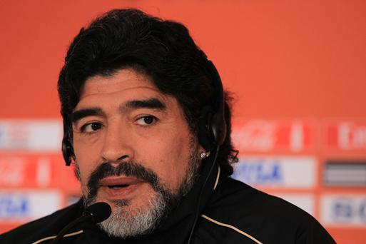 Argentina's head coach Diego Maradona speaks to the media during a press conference at Loftus Versefeld Stadium on June 16, 2010 in Pretoria, South Africa