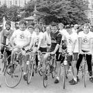 Co-Operation North. Maracycle.Ballymena's Olympic cyclist Billy Kerr, with some of the competitors in the Co-operation North Maracycle. 20/7/1984