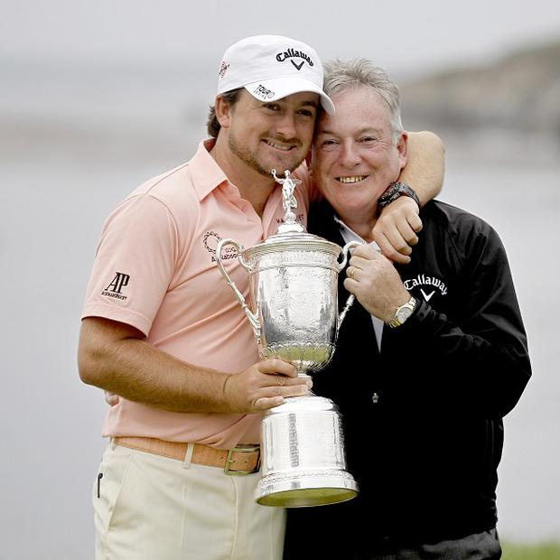 Graeme McDowell with his father Ken after winning the US Open