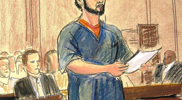 A courtroom sketch of Faisal Shahzad pleading guilty over the failed Times Square car bombing (AP)