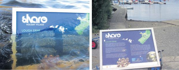 The Share Holiday Village sign almost totally submerged in November last year (left) but well above the waterline yesterday (right). Many water-based activities at Share have been curtailed due to the conditions
