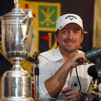 New US Open champion Graeme McDowell speaks during a press conference at Rathmore Golf Club in Portrush