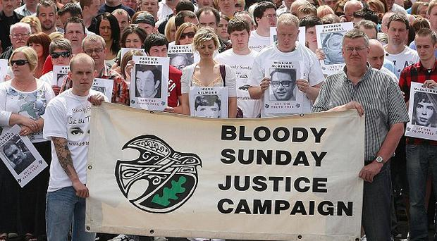 Tom Haire praised the Bloody Sunday campaigners, pictured