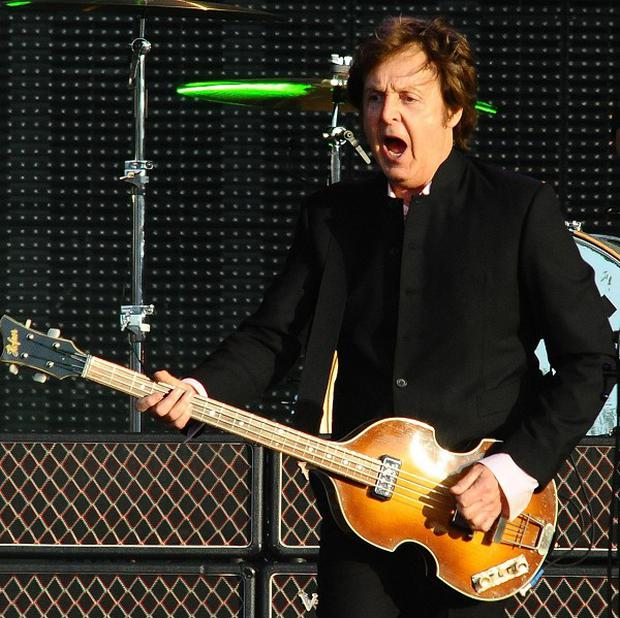 Sir Paul McCartney performing on stage at the Hard Rock Calling Festival in Hyde Park, London