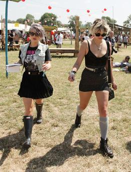 Kelly Osbourne (left) and Pixie Geldof backstage during the Glastonbury Festival in Somerset