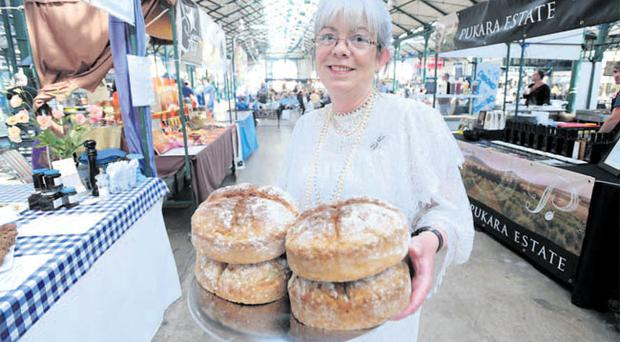 Margaret Hendron at her stand at St George's market