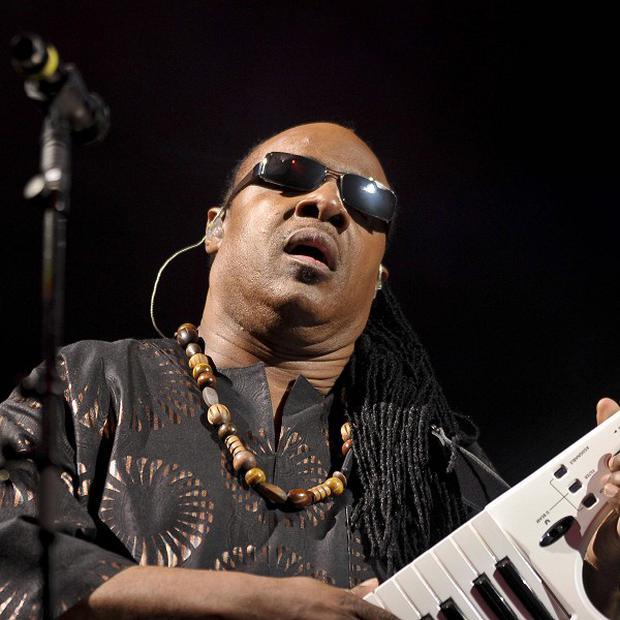 Stevie Wonder performs on the Pyramid Stage as he closes the Glastonbury Festival