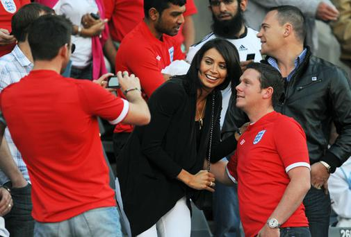 TV presenter Christine Bleakley at the Germany - England match at Free State Stadium on June 27, 2010 in Bloemfontein, South Africa