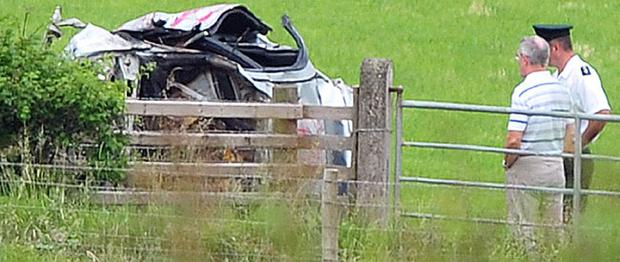 The wreckage of the car that crashed outside Dundrod carrying six men