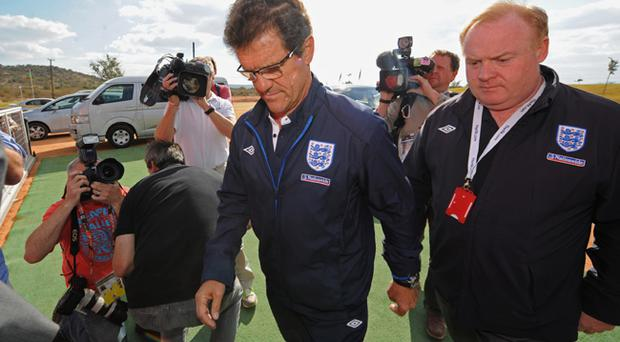 England manager Fabio Capello arrives for the England Press Conference at the Royal Bafokeng Sports Campus on June 28, 2010 in Rustenburg, South Africa