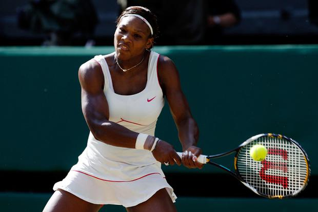 Serena Williams of USA in action during her match against Maria Sharapova of Russia on Day Seven of the Wimbledon Lawn Tennis Championships at the All England Lawn Tennis and Croquet Club