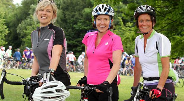 ©Jonathan Porter/Presseye.com - Press Eye Ltd -Northern Ireland -26th June 2010. Co-Operation Ireland maracycle gets underway from the starting line at Queen's PEC in Belfast. The cyclist will make their way to Dublin today and make the return journey tomorrow. Left to right. Fionnula Mann, Maura Corry and Christine Magle from Belfast.