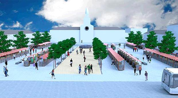 How the centrepiece Conway Square in Newtownards could look if the regeneration plans for the town go ahead