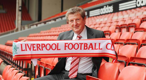 Roy Hodgson, pictured at Anfield yesterday as he was unveiled as Liverpool's new manager