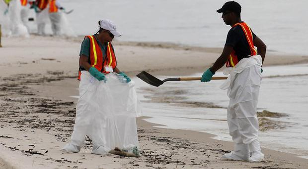 Workers clean up tarred oil, seen amidst other shoreline debris, which washed ashore during high seas produced by Hurricane Alex