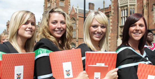 Queen' s University summer Graduation. July 2010. Sarah McCann, Julie-Anne Ormsby, Leanne Moore and Charlene Hull who all graduated with BA Honours