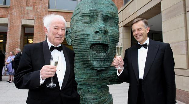 Nobel laureate Seamus Heaney (left), with The Vice Chancellor of Queen's Professor Peter Gregson, opens the new £50m McClay Library at Queen's University
