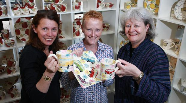 French journalist Michele Berzosa with Heather Walton from Eden Pottery and Anne Zemmou from Tourism Ireland in France