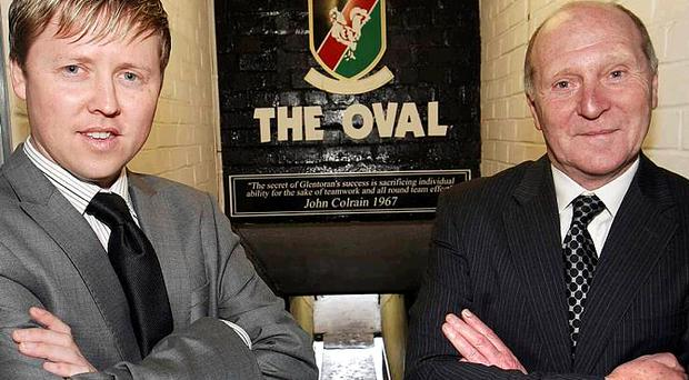 Glentoran Director of Football Roy Coyle (right) pictured with manager Scott Young
