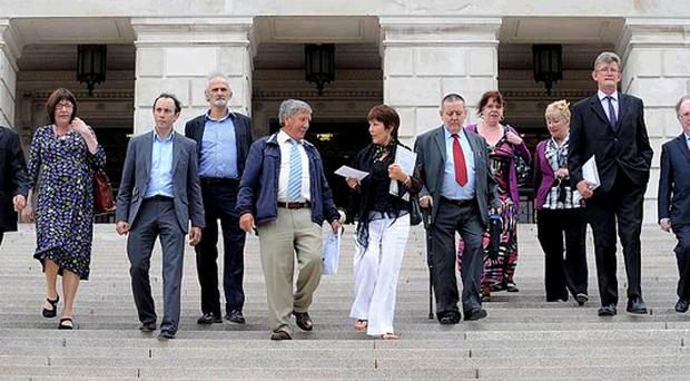 Victims of child abuse, campaigners and politicians at Stormont yesterday