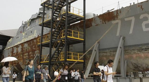 Wreckage of a South Korean warship the government claims was sunk by the North (AP)