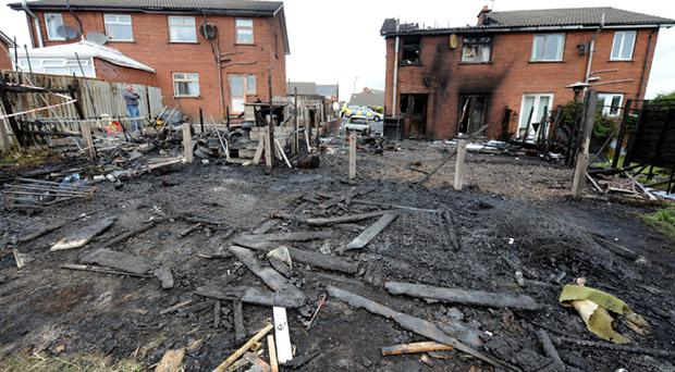 The scene of destruction at East Mount in Newtowanrds