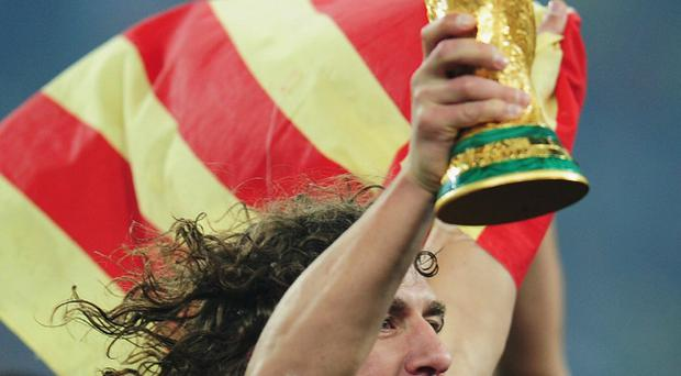 Carles Puyol celebrates after Spain's World Cup final win over Holland
