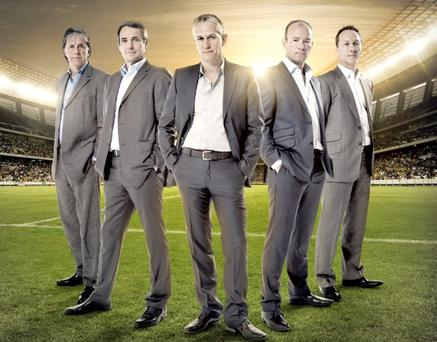 Talk is hardly cheap: (from left) the BBC's Mark Lawrenson, Alan Hansen, Gary Lineker, Alan Shearer and Lee Dixon