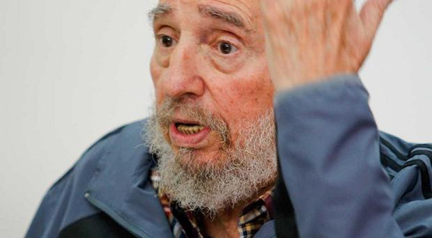 Cuban leader Fidel Castro gestures during an interview with Cubavision in Havana