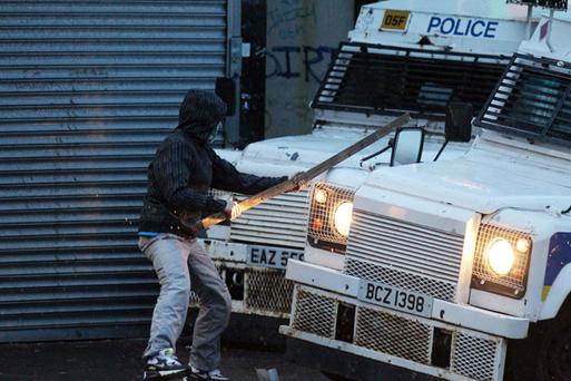 The scene in the Ardoyne interface area of Belfast as for a second night in a row police try to restore calm